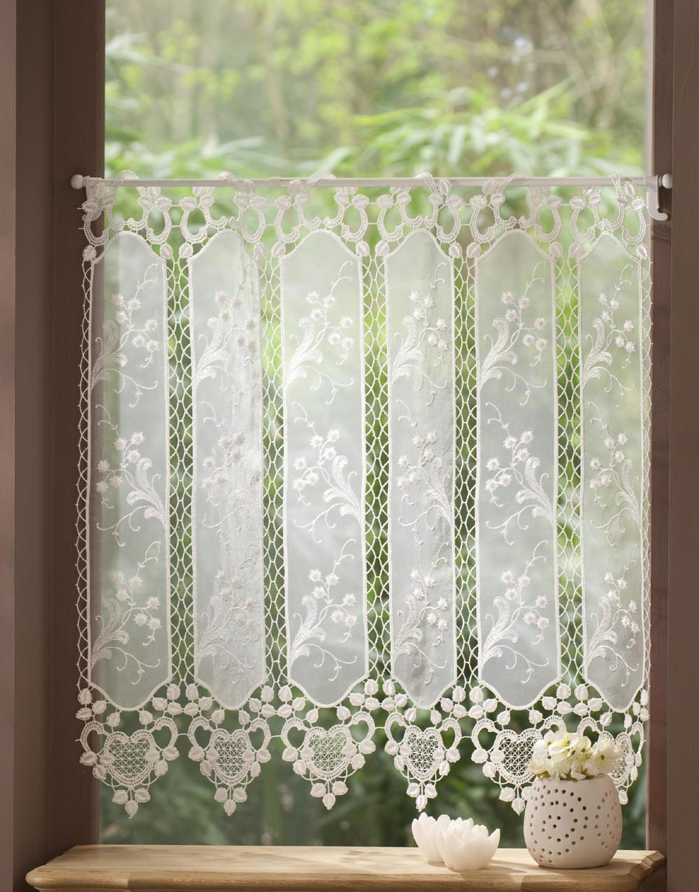 Macrame Lace Cafe Curtain And Organza