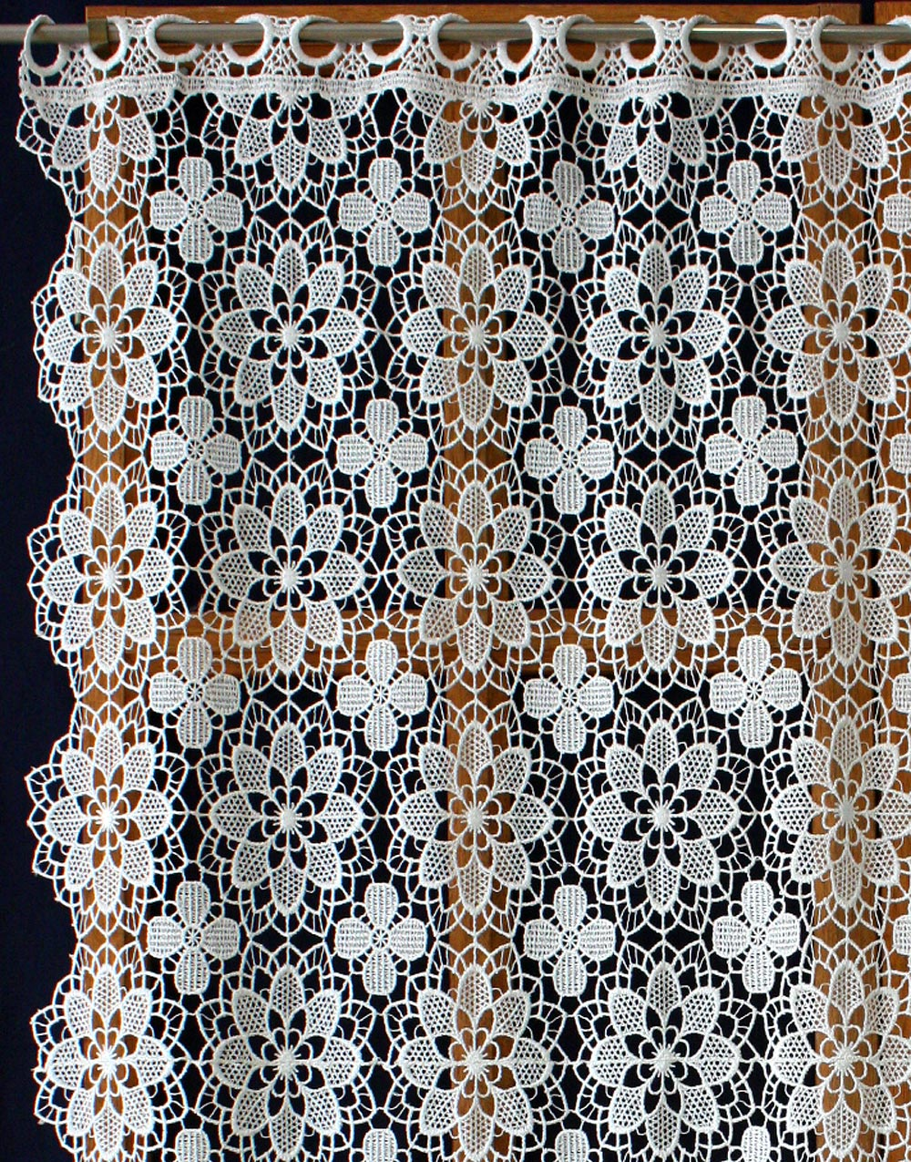 Lace kitchen curtain in natural color
