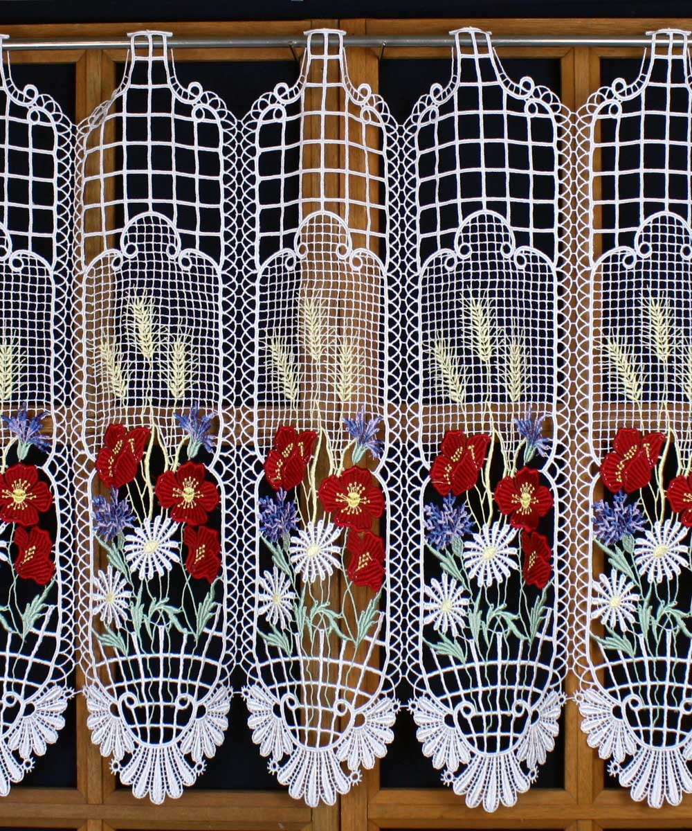 colored flowers lace curtain