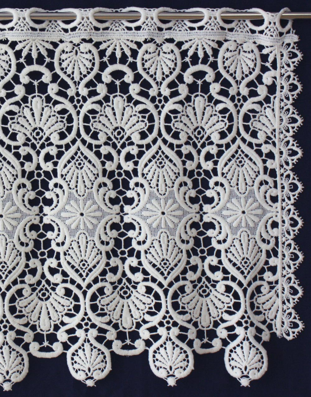Classic macrame lace curtain in 18 inc in ecru