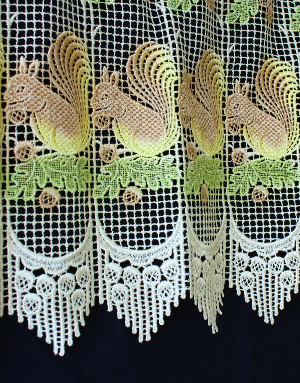 Squirrel macrame lace curtain color