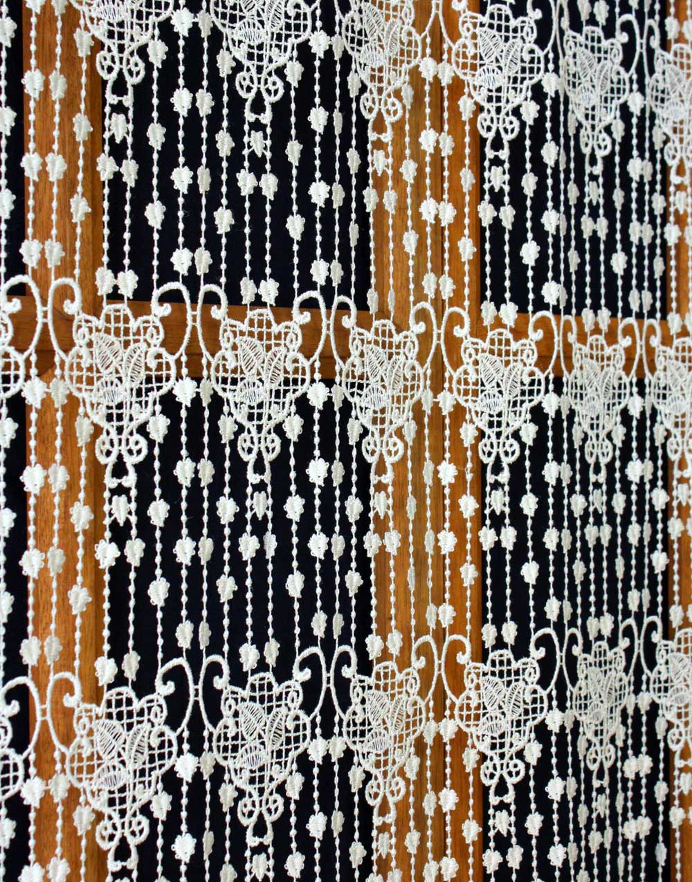 Feuilles macrame lace curtain natural