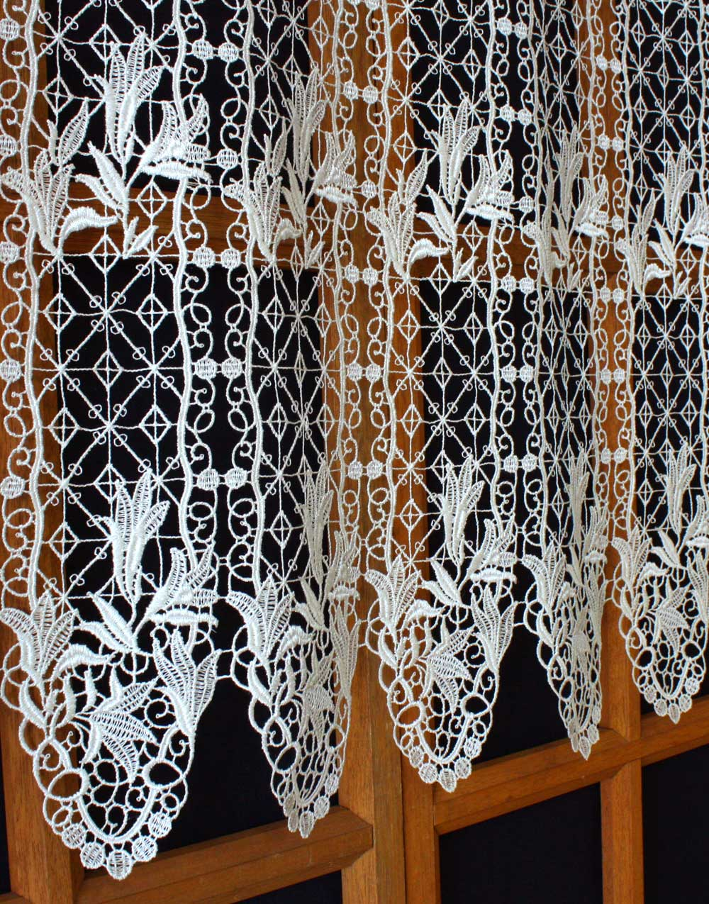 french lace floral macrame cafe curtains. Black Bedroom Furniture Sets. Home Design Ideas