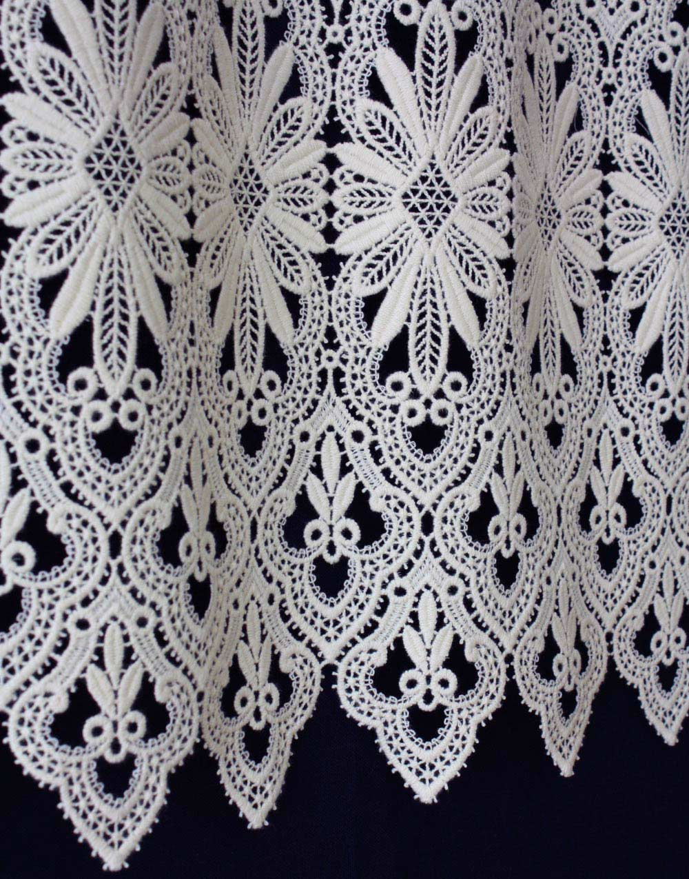 Bottom Macrame Lace Curtain In Ecru