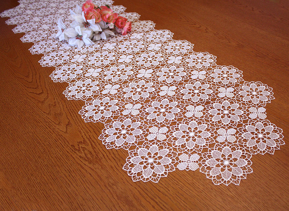 "Lace Table runner ""Amaryllis"" 18 inches wide"