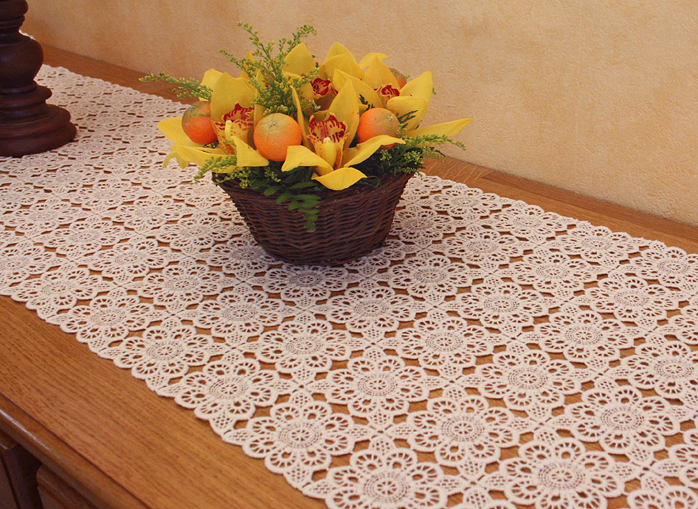 "Lace Table runner ""Catherine"" 16.8 inches wide"