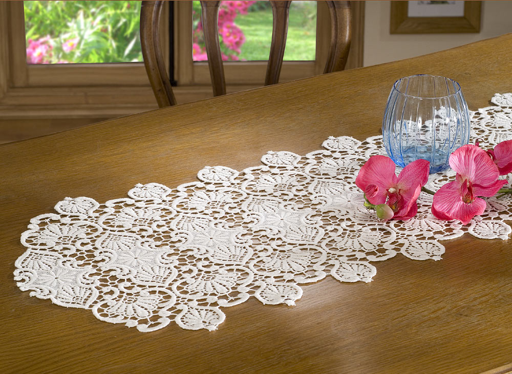 "Lace Table runner ""classic"" 16 inches wide"