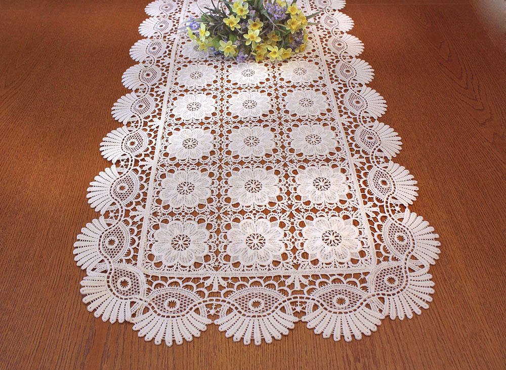 "Ecru Lace Table runner ""coquilles"" 20 inches wide"