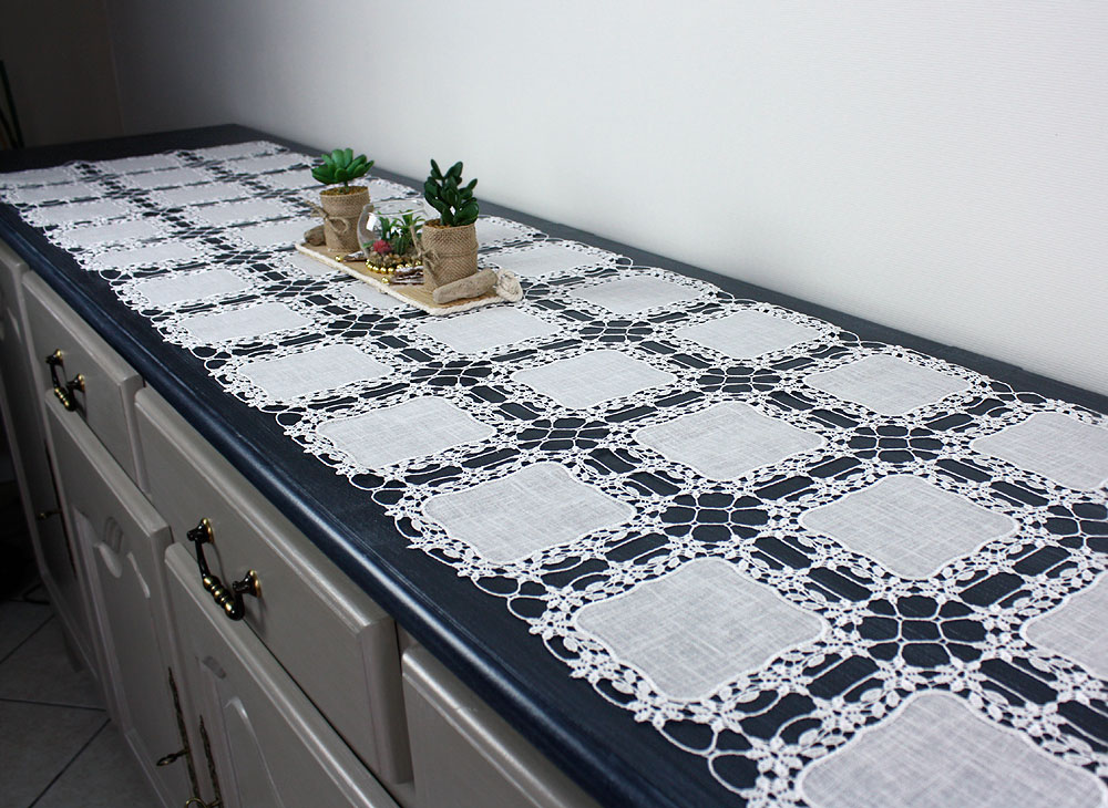 "Lace Table runner ""Carine"" 25.2 inches wide"