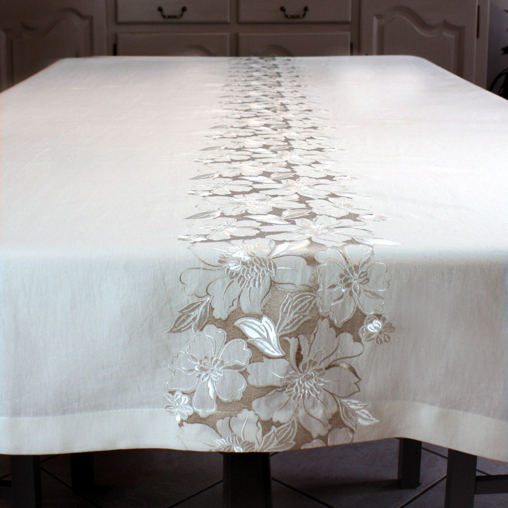 Pure linen embroidered tablecloth