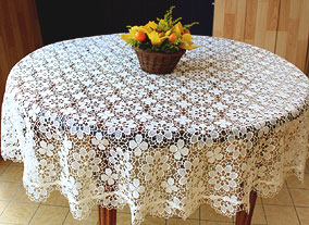 table macrame  60 Amaryllis ovale for Tablecloth length round Lace runner
