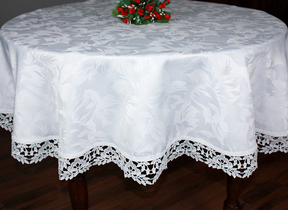 "Lace Tablecloth ""Laurier"" in natural white"