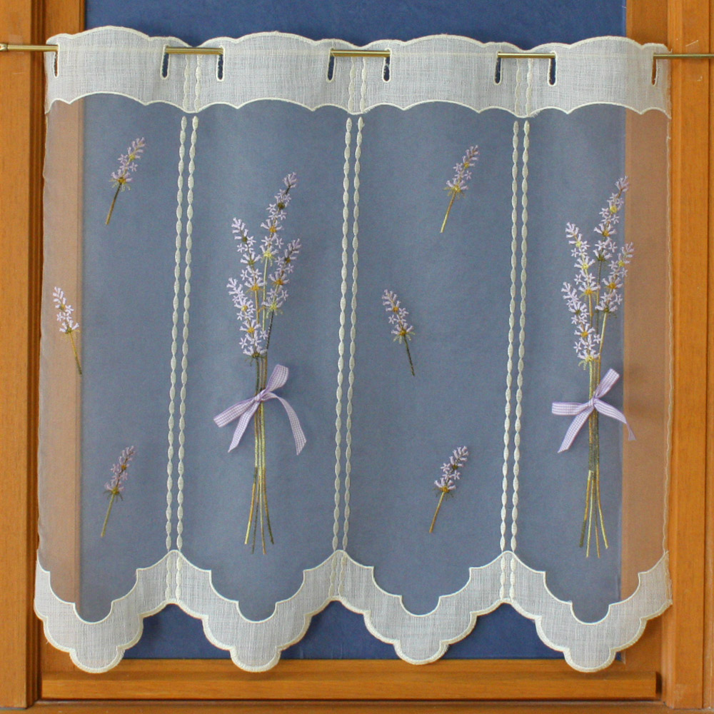Tier lace embroidery curtain lavande for Voilage fenetre cuisine