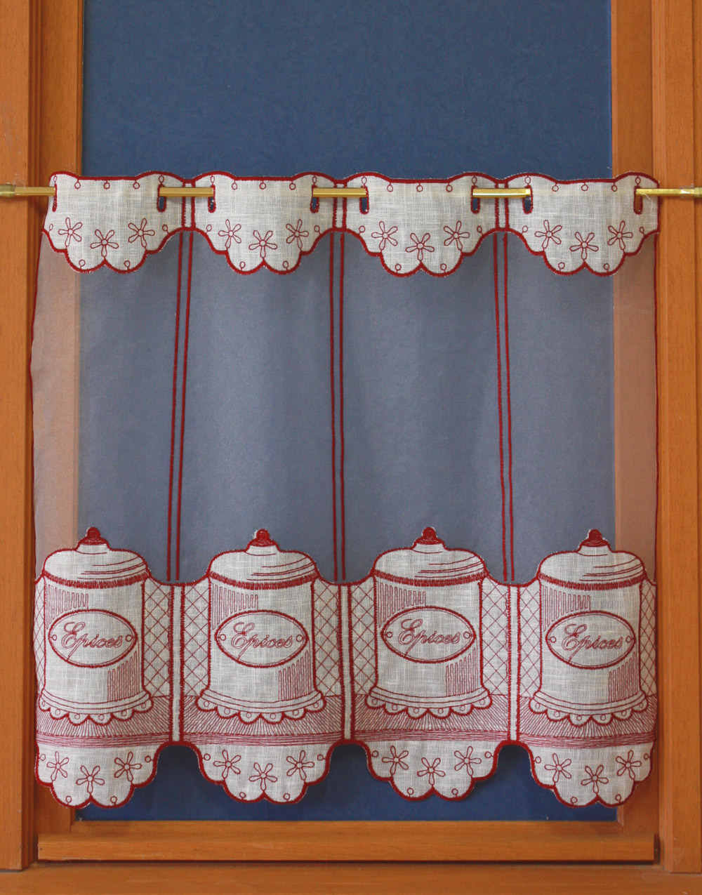 Tier lace embroidery curtain spice jar for Voilage fenetre cuisine