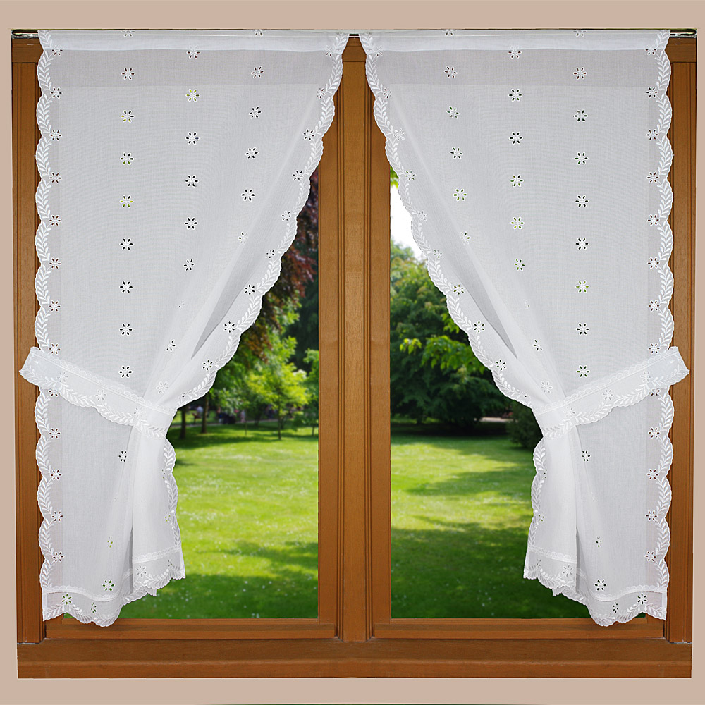 White english embroidery trimmed curtain