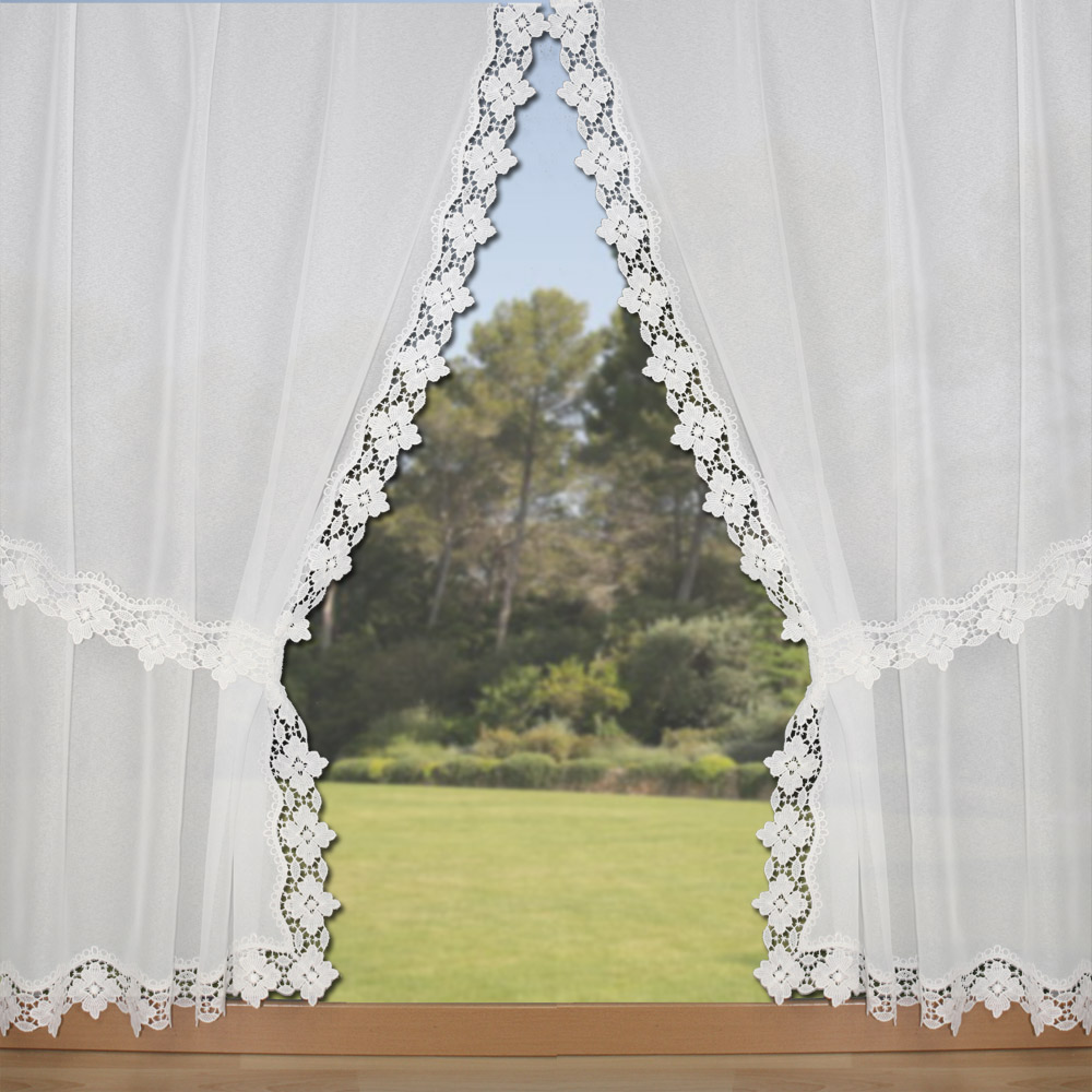 White tie back curtain Flore