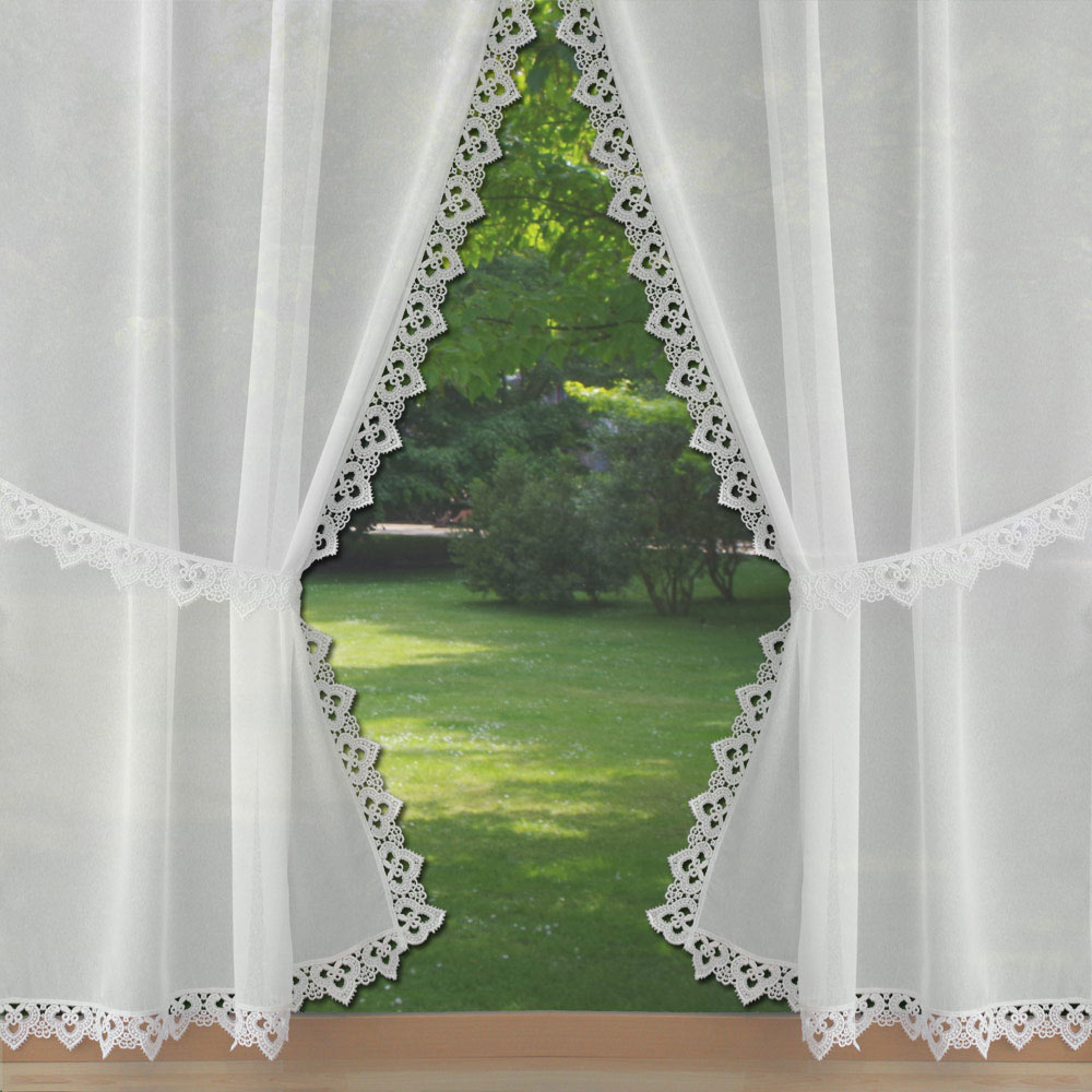 sheer macrame lace tie back curtains. Black Bedroom Furniture Sets. Home Design Ideas
