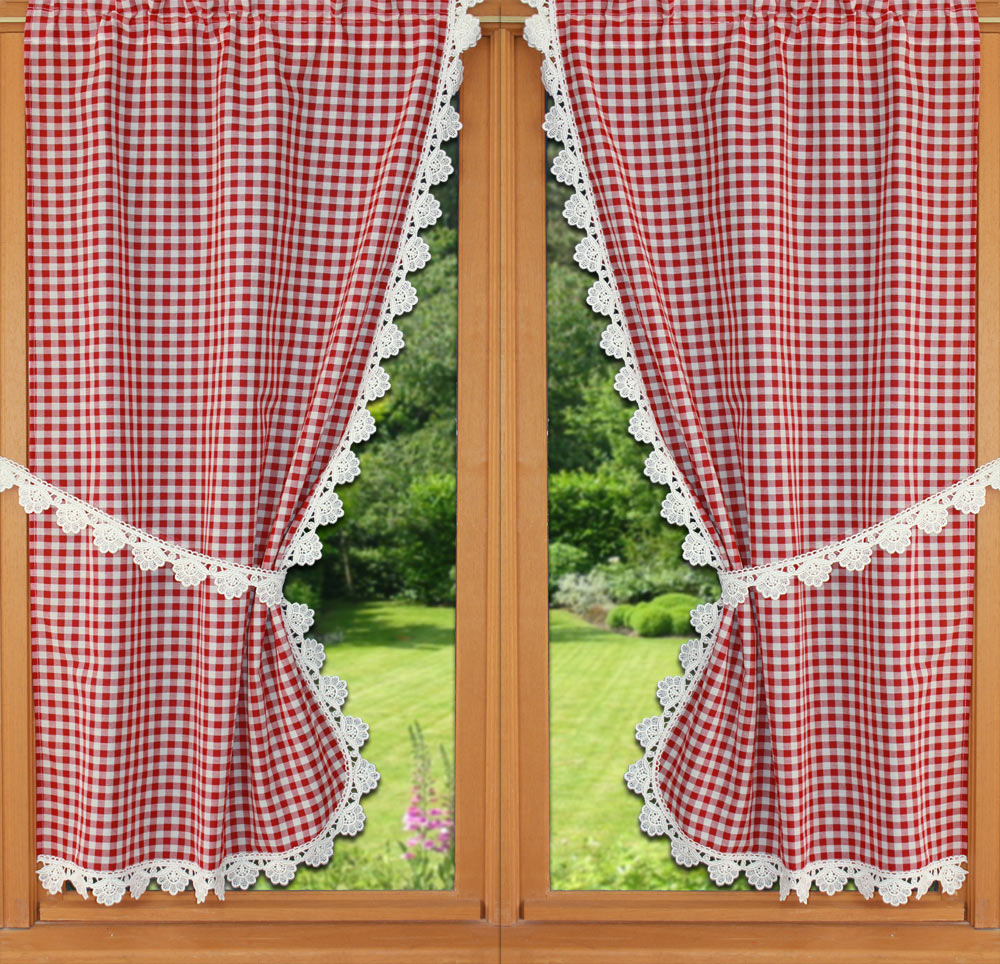 red vichy curtain