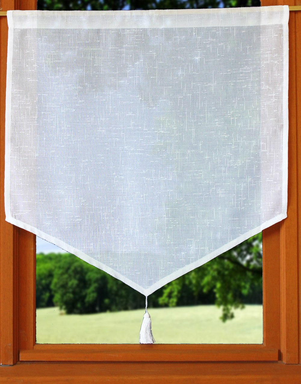 Tier embroidered linen curtain with tassel