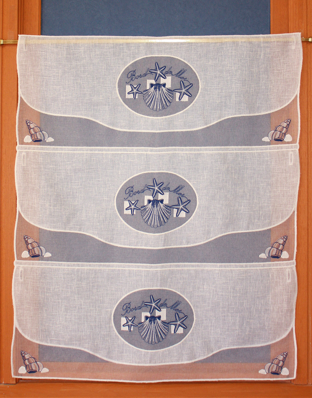 Seaside embroidered curtain 28.8 inches height