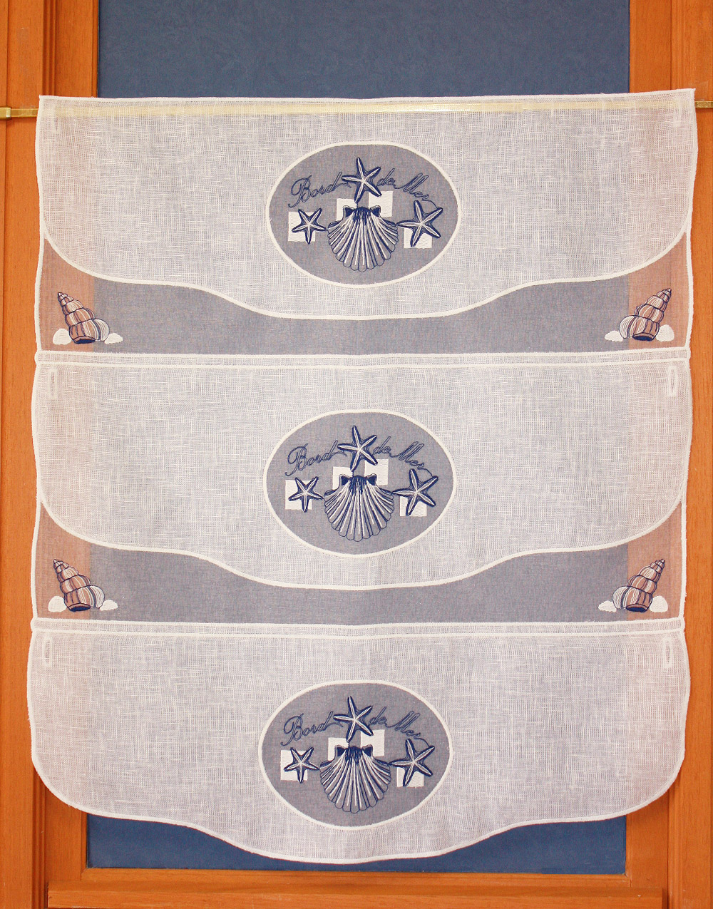 Seaside tier embroidered curtain 27 inches height