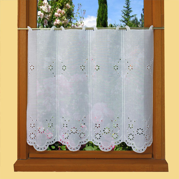 Embroidered tier curtain