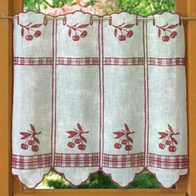 Embroidered cherry curtain