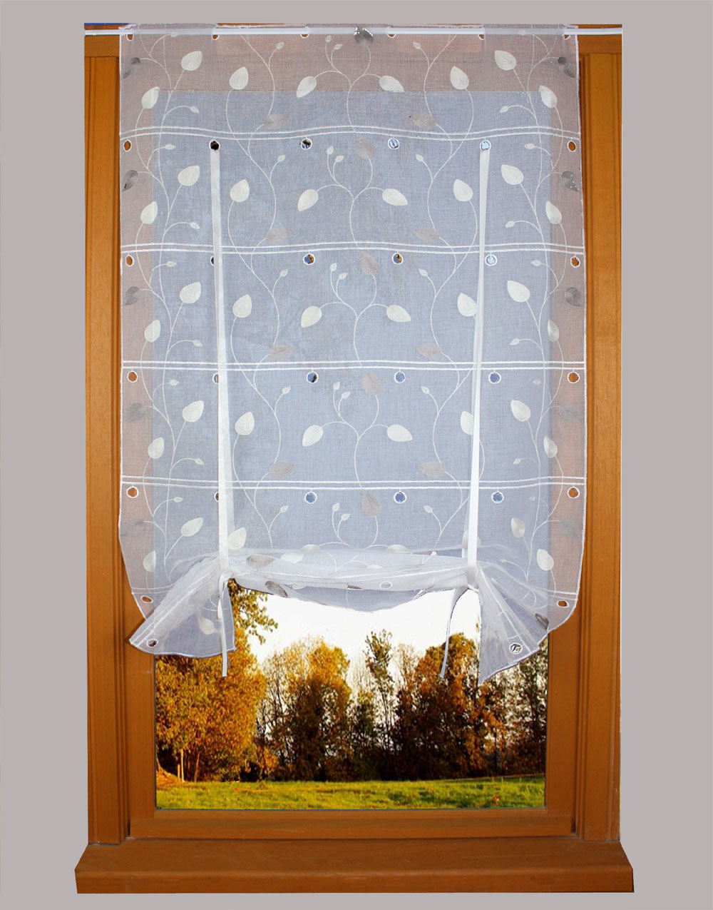 Leaves Embroidered curtain