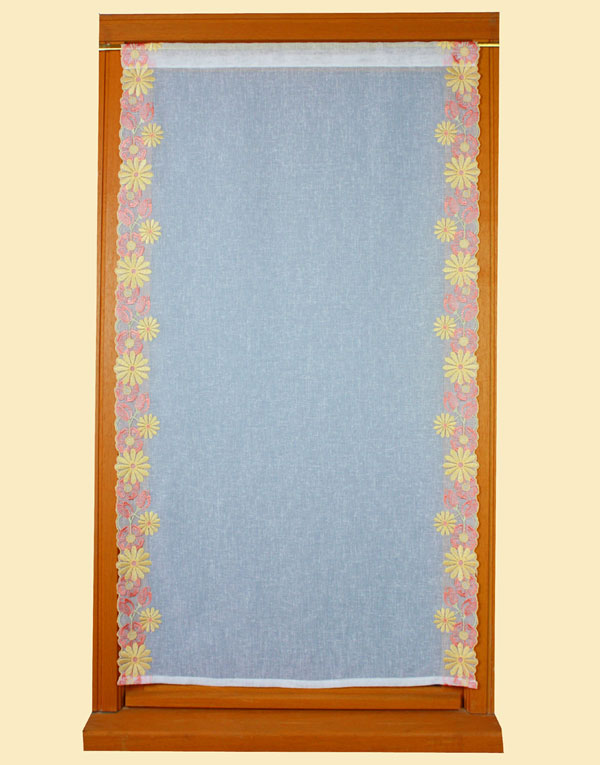 yellow orange embroidered curtain yardage