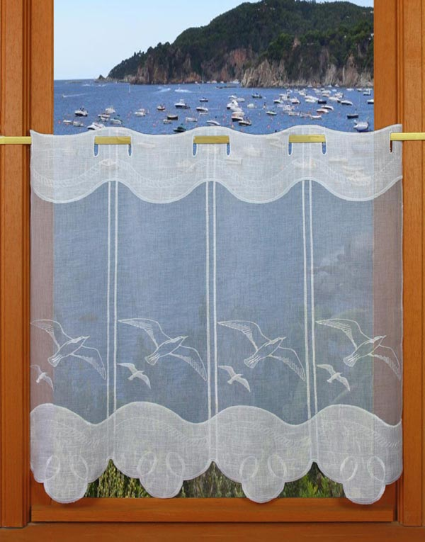 gull embroidered curtain
