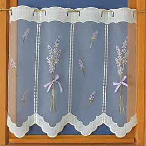 Lavender lace cafe curtain