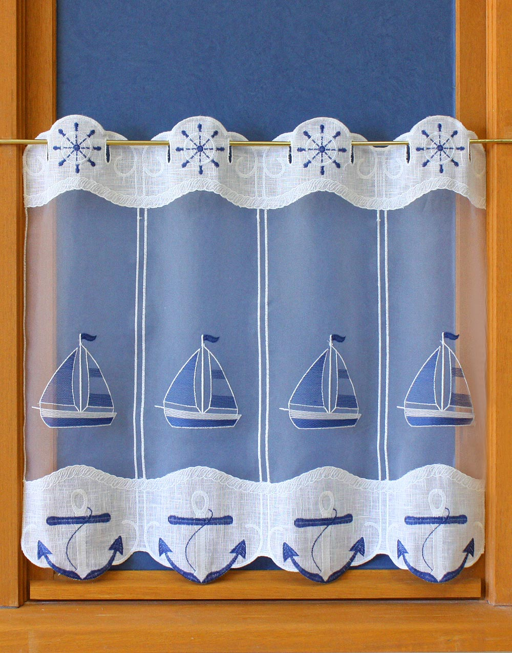 Tier embroidered curtain Marine 22 inc height