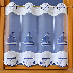 Boat embroidered curtain