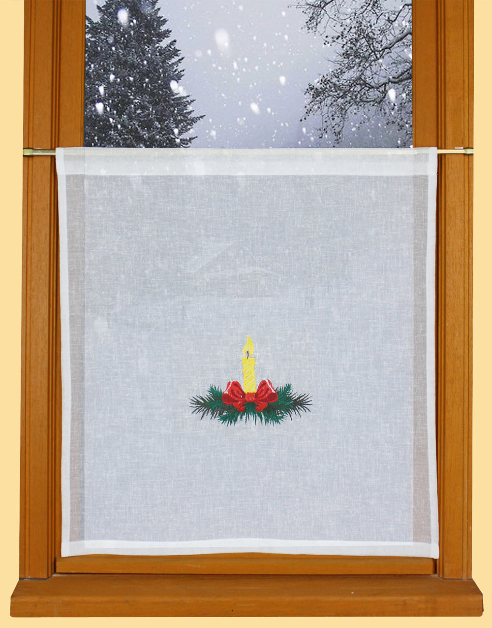 Candle embroiderd curtain