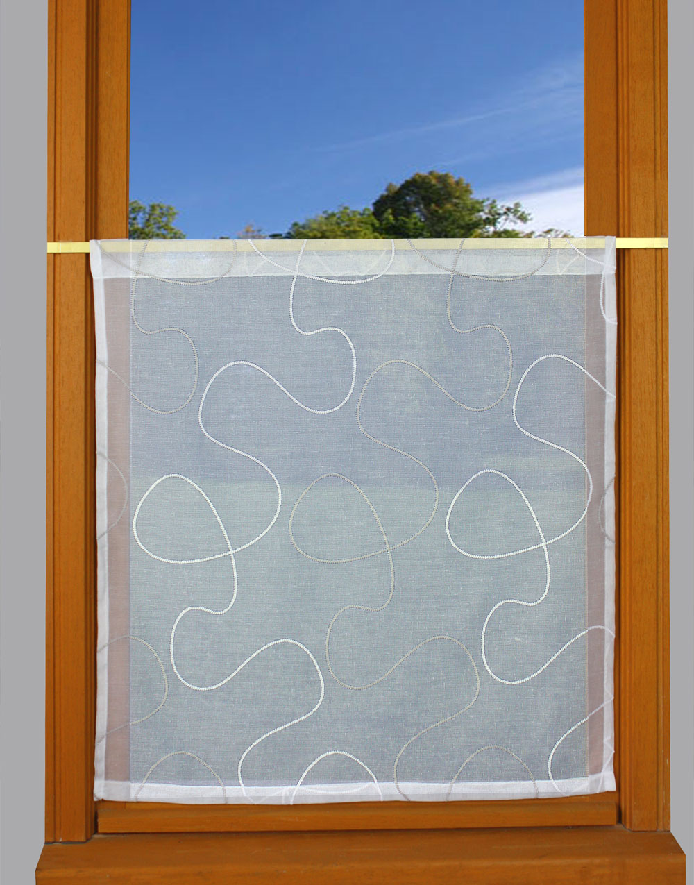 grey white embroidered curtain