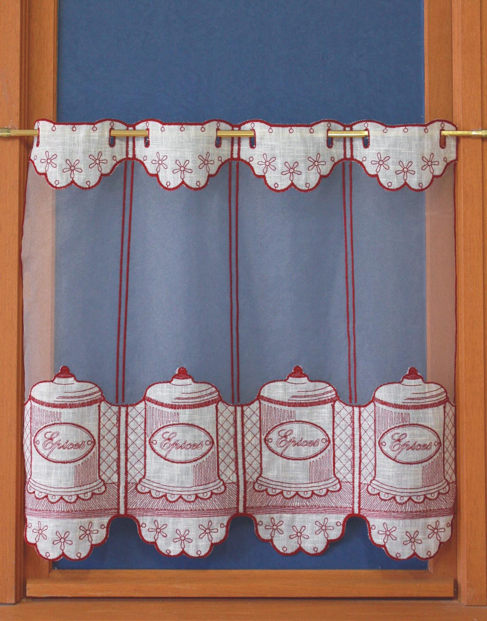 Tier kitchen embroidered curtain Lavande 23 inc height