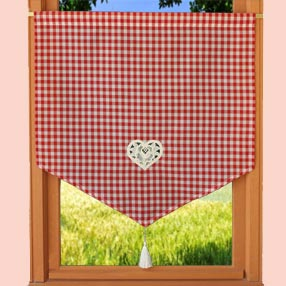 Red gingham french kitchen curtain - Macrame rideau cuisine ...