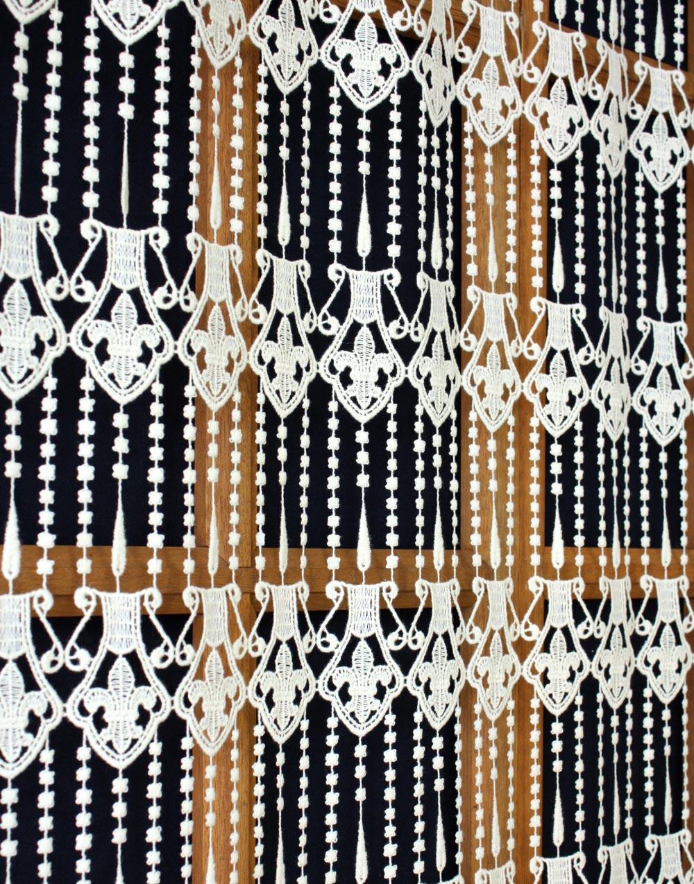 macrame panel curtain flower of lily. Black Bedroom Furniture Sets. Home Design Ideas