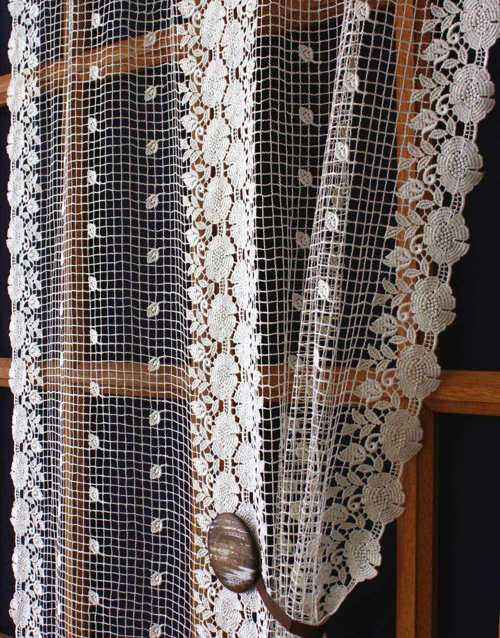 pair panels amazoncom delivery curtains this french by inch window curtain lace crochet cream free cotton buy
