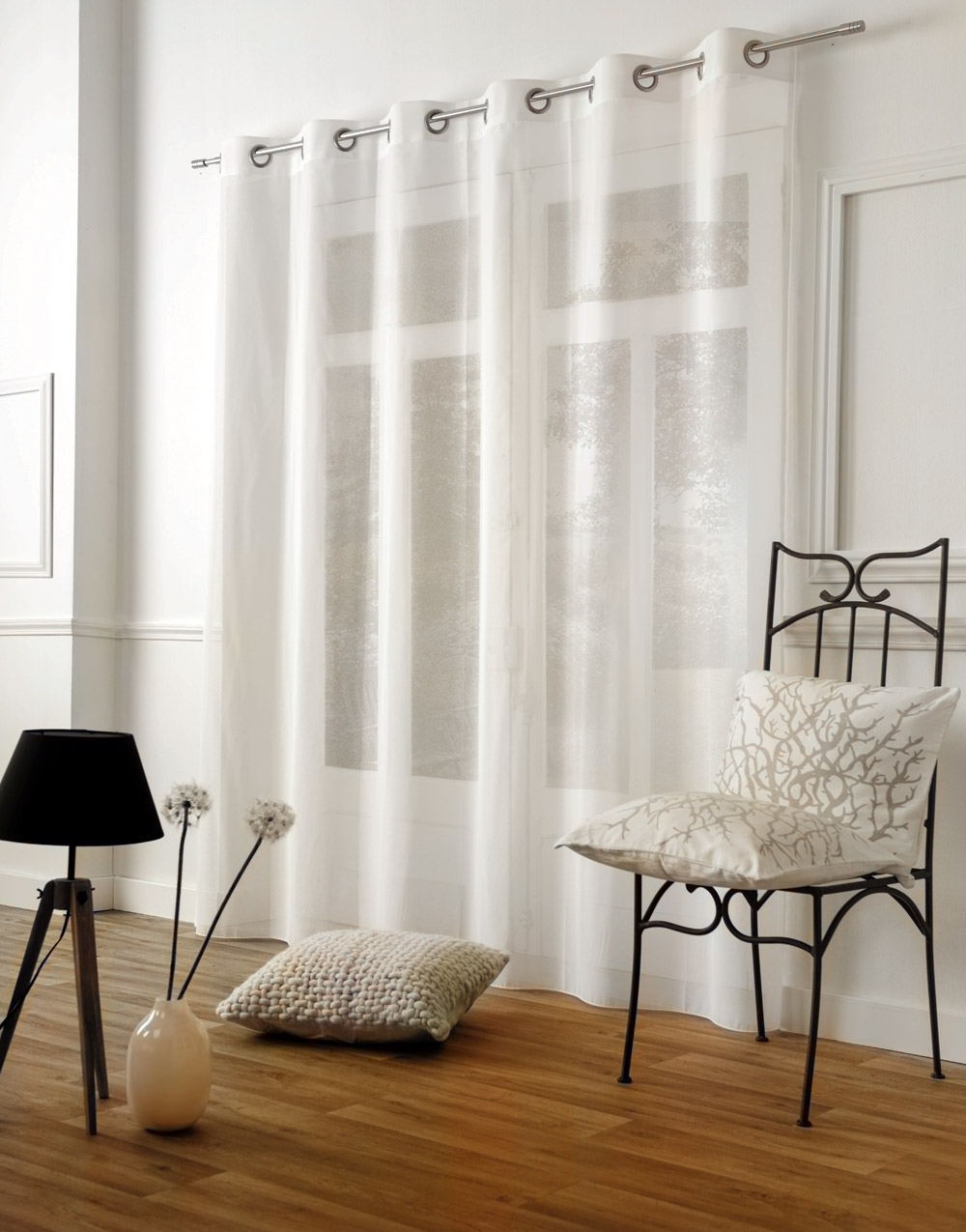 "ivory plain Sheer curtain ""Baptiste"""