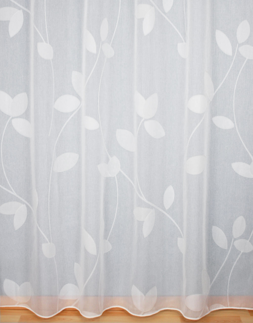 White Sheer curtain with leaves