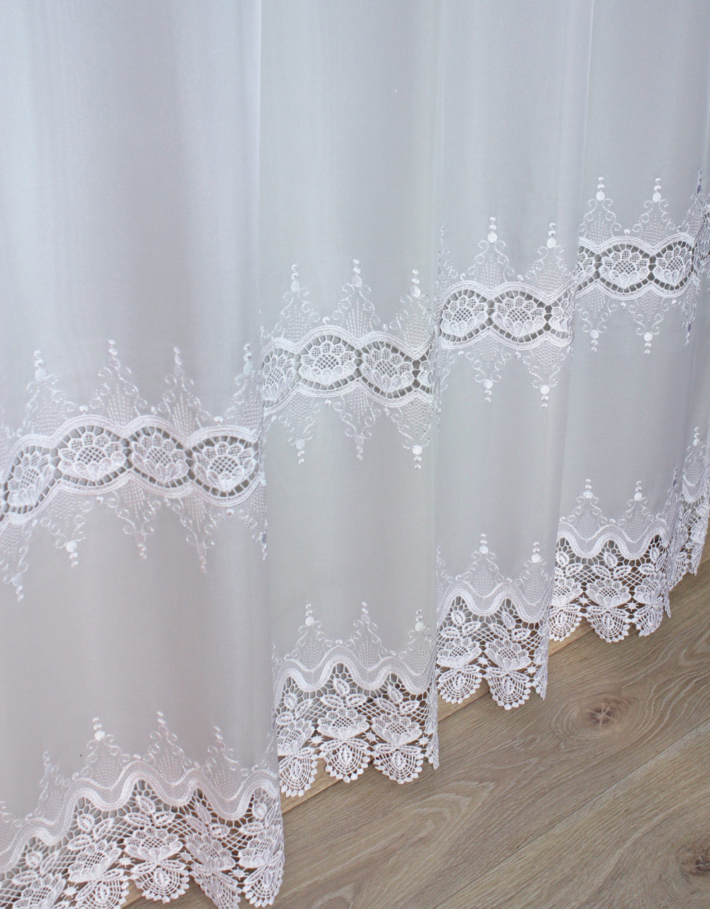 Voile Curtain With Macrame Lace Available By The Yard