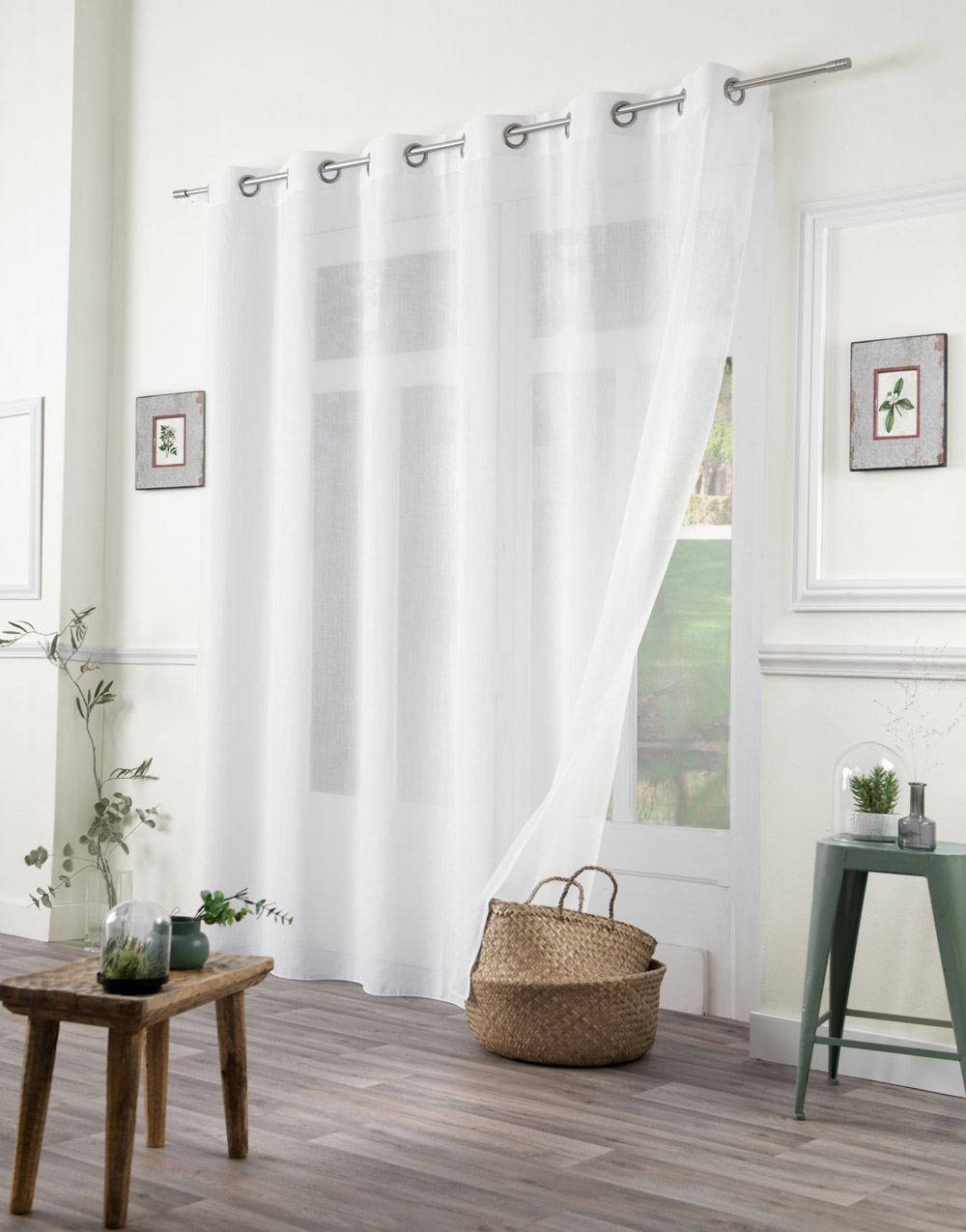white plain sheer curtain with linen
