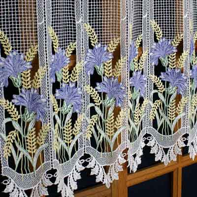 Cornflower and ears of wheat curtain
