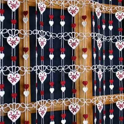White and red heart macrame curtain