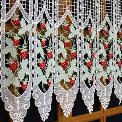 Upscale kitchen curtain stawberries