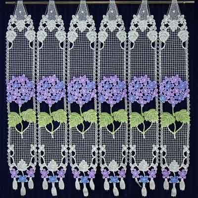 Blue mauve Lace cafe curtain