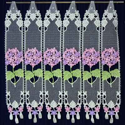 Colored Hydrangea lace curtain