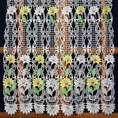 yellow orange lace curtain