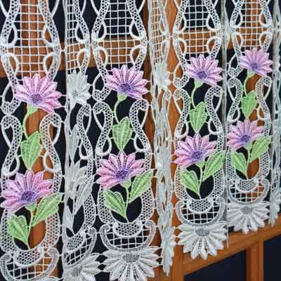 Pink parme lace curtain